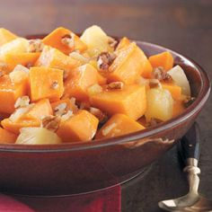 Pineapple Sweet Potatoes (6 servings): 6 sweet potatoes peeled & cubed, 1.5 cups dark brown sugar, 1 8oz. can pineapple tidbits drained, 1/4 cup butter, 1 tsp. ground cloves, 1 tsp. cinnamon, .5 tsp nutmeg & 1 cup mini marshmallows. Place all ingredients except marshmallows in a slower cooker, stir until mixed. Cook on low until fork tender (6-7hrs). Top with marshmallows, broil until marshmallows are light brown.