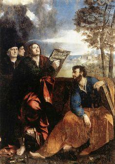 I Santi Giovanni Evangelista  Bartolomeo. Dipinto nel 1527 per la Cappella di Pontichino delle Sale nella cattedrale di Ferrara. Portato a Roma nel 1597. Ora a Palazzo Barberini