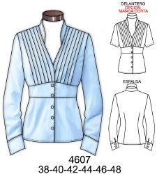 Blusa con alforzas en delantero superior corte bajo busto. Telas: Popelina. Consumo tela talla 46: 1.45 mts. Aprox.