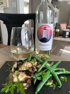 Erie Shore Vineyard 2018 Beacon and Halibut with Mushrooms, Garlic & Vermouth. White Friday, Essex County, Halibut, Just Cooking, Balsamic Vinegar, Wineries, Brewery, Cleaning Wipes, Vineyard