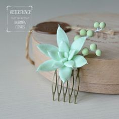 Browse unique items from WisteriFlower on Etsy, a global marketplace of handmade, vintage and creative goods.  Succulent hair piece Botanical hair accessory Succulent for hair Mint wedding Floral Jewelry Bridal hair accessories Garden wedding Boho