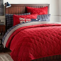 Finley Solid Quilt, Twin, Red