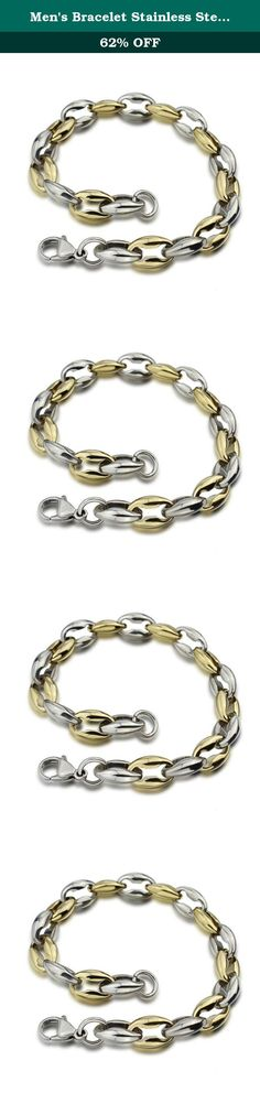Men's Bracelet Stainless Steel 22.8 CM Long 0.95 CM Wide Anchor Chain Lobster-claw Clasp Golden and White. The Bracelet is Made of Titanium Steel.The Characteristics of It That is High Gloss, Never Change Color, Do Not Fade, Anti-Allergy.The Simple Design with Anchor Chain and Lobster-claw Clasp,Suitable for: Advertising Promotions, Business Gifts, Tourism Discipline, Valentine's Day, Christmas.Independent Packaging and the Fashion Design. It Would be the Right Choice for You.