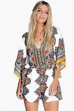 Sofie Scarf Print Kimono Style Playsuit