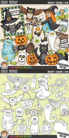 Halloween Clip Art for teachers by Kate Hadfield Designs | Teachers Pay Teachers. Supplied in both hand-painted coloured versions and black and white outlines! #katehadfielddesigns