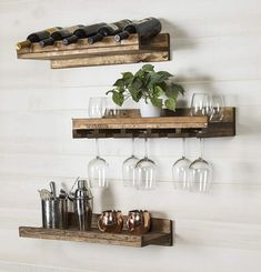 Union Rustic Dunlap 5 Bottle Wall Mounted 3 Piece Wine Bottle Rack #rustic#rusticdecor#decor#wood#shelves#storage#ad