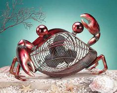 Red Crab Tabletop Fan Beach Decor | Nautical Decor | Tropical Decor | Coastal Décor        too cute!