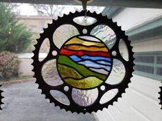 SoKno Glassworks on Etsy https://www.etsy.com/shop/SoKnoGlassworks Bicycle Art, Sun Catcher, Mosaic Glass, Glass Art, Stained Glass Windows, Glass Design, Unique Art, Metal Art, Project Ideas