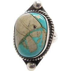 Vintage Native American Sterling Silver Turquoise Ring Size 6 ¾