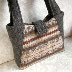 Chocolate Brown and Caramel Eco Friendly Willow Handbag, Upcycled Felted Wool Sweater Purse via Etsy