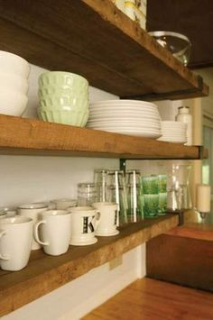 recycled barn wood shelves... love the thickness of the shelves ...