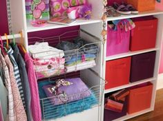 Style Meets Function. Closet storage can be both functional and decorative. Look for bins, baskets and other containers that coordinate with the color scheme of the bedroom.