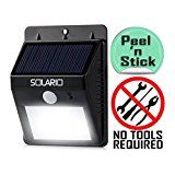 #9: Solar Powered Security Floodlights  Motion Activated Lights- Wireless Outdoor Light- 80 Lumen Ultra Bright LEDs- Peel and Stick- Best for Patio Garden Path Pool Yard Deck (Black) (1)