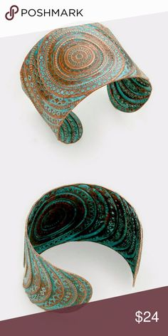 "*Coming soon!*  Embossed Bohemian Metal Cuff * Embossed Ethnic Bohemian Metal Cuff Bracelet. * Color : Patina Verdigris  * Size : 2"" H Jewelry Bracelets"