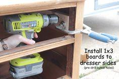 How to Install Drawer Slides on a Vintage Dresser - Shades of Blue Interiors Dresser Drawer Slides, Old Dresser Drawers, Diy Drawers, Vintage Doors, Vintage Dressers, Antique Doors, Furniture Makeover, Diy Furniture, Furniture Plans