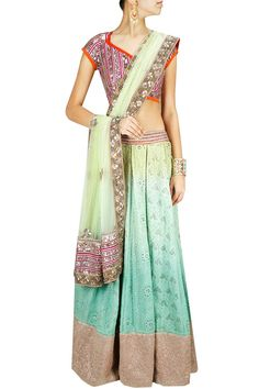 OHAILA KHAN Green ombre and pink embroidered lehenga set - ombre is so hot right now!