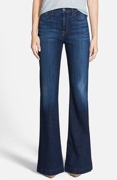 7 For All Mankind® 'Ginger' High Rise Flare Jeans (Royal Broken Twill) available at #Nordstrom