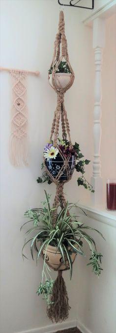 Triple 3 pots jute plant hanger, hippie home decor, hippie wedding, boho decor, jute plant hanger, vintage style natural jute plant holder, jute hanging planter, triple decker plant hanger, ceiling plant hanger