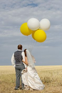 Wedding balloons yellow and white