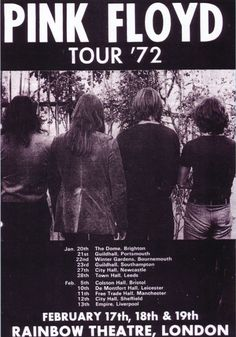 Pink Floyd played in Southampton Guildhall, 1972 Pink Floyd Tour, Arte Pink Floyd, Rock And Roll, Pop Rock, Tour Posters, Band Posters, Event Posters, Musica Punk, Cover Shoot