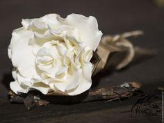 """Купить Шариковая ручка с цветами из фоамирана """"Белая роза""""2шт - белый, купить ручку, шариковая ручка"""