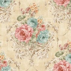 Blue and Pink Harpina Floral Wallpaper, SBK26882