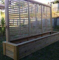 This large planter is long wide and high. Great for wind break . This large planter is long wide and high. Great for wind break . Privacy Planter, Privacy Screen Outdoor, Large Backyard Landscaping, Backyard Privacy, Landscaping Ideas, Backyard Ideas, Large Outdoor Planters, Wood Planters, Planter Box With Trellis