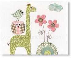 Nursery art prints, baby nursery decor, nursery wall art, children wall art, kids giraffe, Birds, owl, Dans Le Jardin 8x10 print. $14.00, via Etsy.