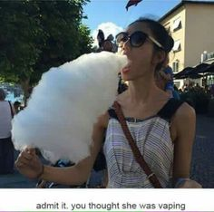 Admit it... you thought she was vaping. Ejuice Available at http://www.voomvape.com/category/e-juice