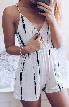 5c21ca7fb2c7  Summer  Outfits   white stripe print romper Casual Summer Outfits