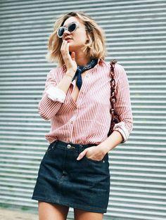 On Adénorah: Sézane Marla Shirt (£70); A.P.C. skirt; M Missoni bag.