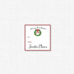 Santa Gift Tag with wreath by adelicategift www.adelicategift.com