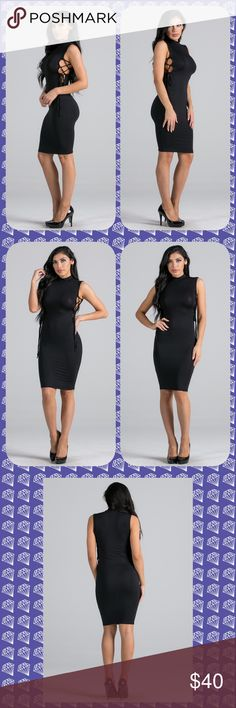 """NWT Black side lace up dress 🎀 NWT black side lace up dress. Fits like a dream hugging your curves. So soft and comfortable. 95% micro model 5% spandex. A perfect dress for a night out. 🎀 Small 36"""" from top of shoulder to bottom 🎀 Medium measures 38.5 from top of shoulder to bottom 🎀 Lg measures 39"""" from top of shoulder to bottom. Very stretchy and figure flattering. 🎀No trades, holds or PP 🎀 Price is firm unless bundled 🎀 Comes from a smoke free home (#19) Boutique Dresses Midi"""