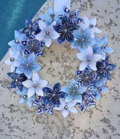 "Winter Blues// Origami/Kusudama Christmas Paper Flower Wreath 12""/centerpiece/wedding/holiday wreath/holiday decor/christmas wreath"