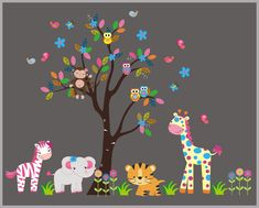 """Fun Color Wall Decals, Cute Animal Wall Stickers, Peel and Stick Nursery Decals, Nature Wall Art, Zoo Animal Wall Mural - 85"""" x 105"""""""