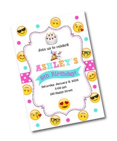 Emoji Birthday Party Invitation Emoji by CrystalScottDesigns