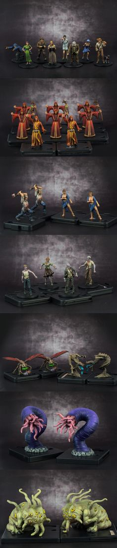 "Painted up all the miniatures for Mansions of Madness, by Fantasy Flight Games. The only difference is I substituted the stock zombies with some walkers from ""Zombicide. Paint Games, Minis, Hp Lovecraft, Fantasy Miniatures, Mini Paintings, Cthulhu, Figure Painting, Art World, Game Art"