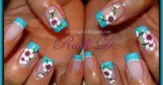 flowers nails nails nails Nail art Nails Tutorials Blue French & Flowers by RadiD - Nail Art Gallery nailartgallery. by Nails Magazine . Beautiful Nail Designs, Beautiful Nail Art, Beautiful Decoration, Beautiful Flowers, Cute Nail Designs, Acrylic Nail Designs, Spring Nails, Summer Nails, Cute Nails