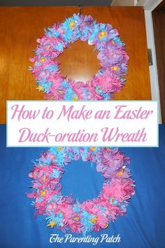 How to make an Easter wreath decorated with chick and bunny rubber ducks and holiday garland. via @ParentingPatch