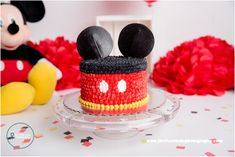 Classic mickey mouse cake smash with Landon by The Flash Lady Photography Mickey Mouse Smash Cakes, Mickey 1st Birthdays, Mickey Mouse First Birthday, Mickey Mouse Clubhouse Birthday Party, Mickey Cakes, Elmo Party, Mickey Party, Dinosaur Party, Dinosaur Birthday
