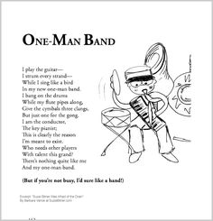 """Cute children's poem about playing music. Great for classroom reading lessons for kindergarten, and grade, common core, and for ESL lessons. Excerpt from the poetry collection, """"Suzie Bitner Was Afraid of the Drain"""" by Barbara Vance."""