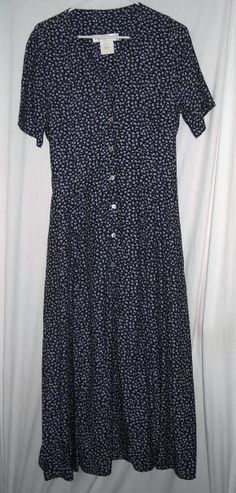 """$17.00 Gorgeous Floral Navy Dress 100% Rayon Made in USA Fits up to 38""""Bust Size 8 Free Shipping"""