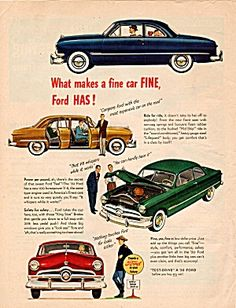 Vintage 1950 Ford Car Automobile Magazine Ad