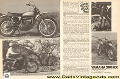 1973 Yamaha 360 MX Road Test 4-Page Article