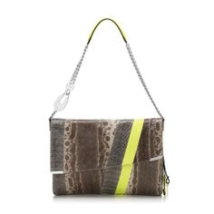 The Jimmy Choo Ally Shoulder Bag in Watersnake and Neon Lime
