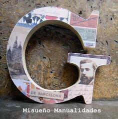 """Letra de madera de 11,5 cm de alto (de Artemio) forrada con papel scrap """"Gaudi"""". Tanto la letra como el papel lo puedes adquirir en la tienda online: www.misueyo.com o en la tienda física.  www.misuenyo.com / www.misuenyo.es"""