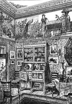 a corner of an 1880 Victorian parlor with its plethora of patterns