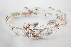 Rose Gold and Light Gold Bridal Vine Circlet Wreath - Cassandra Lynne Cute Jewelry, Hair Jewelry, Wedding Jewelry, Fashion Jewelry, Gold Jewelry, Boho Wedding, Wedding Blog, Summer Wedding, Wedding Venues