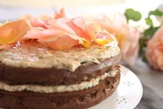 Photo: Maggie Beer's chocolate cloud cake with nut cream and rose petals. (Supplied: Dragan Radocaj) Audio: Maggie Beer on using food to fight Alzheimer's (Breakfast) It looks like a simple mix of chocolate, eggs and butter, but celebrity cook Maggie. Chocolate Butter, Chocolate Cream, Chocolate Recipes, Chocolate Cakes, Beer Recipes, Cooking Recipes, Recipies, Snack Recipes, Cloud Cake