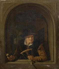 Anonieme navolger van Gerrit Dou: Vrouw in een venster met een haspel en een klos garen in haar handen. ca. 1720. Bonhams, London. Lot 47. Naar Gerard Dou: Vrouw in een venster met een haspel en een klos garen in haar handen. 1653